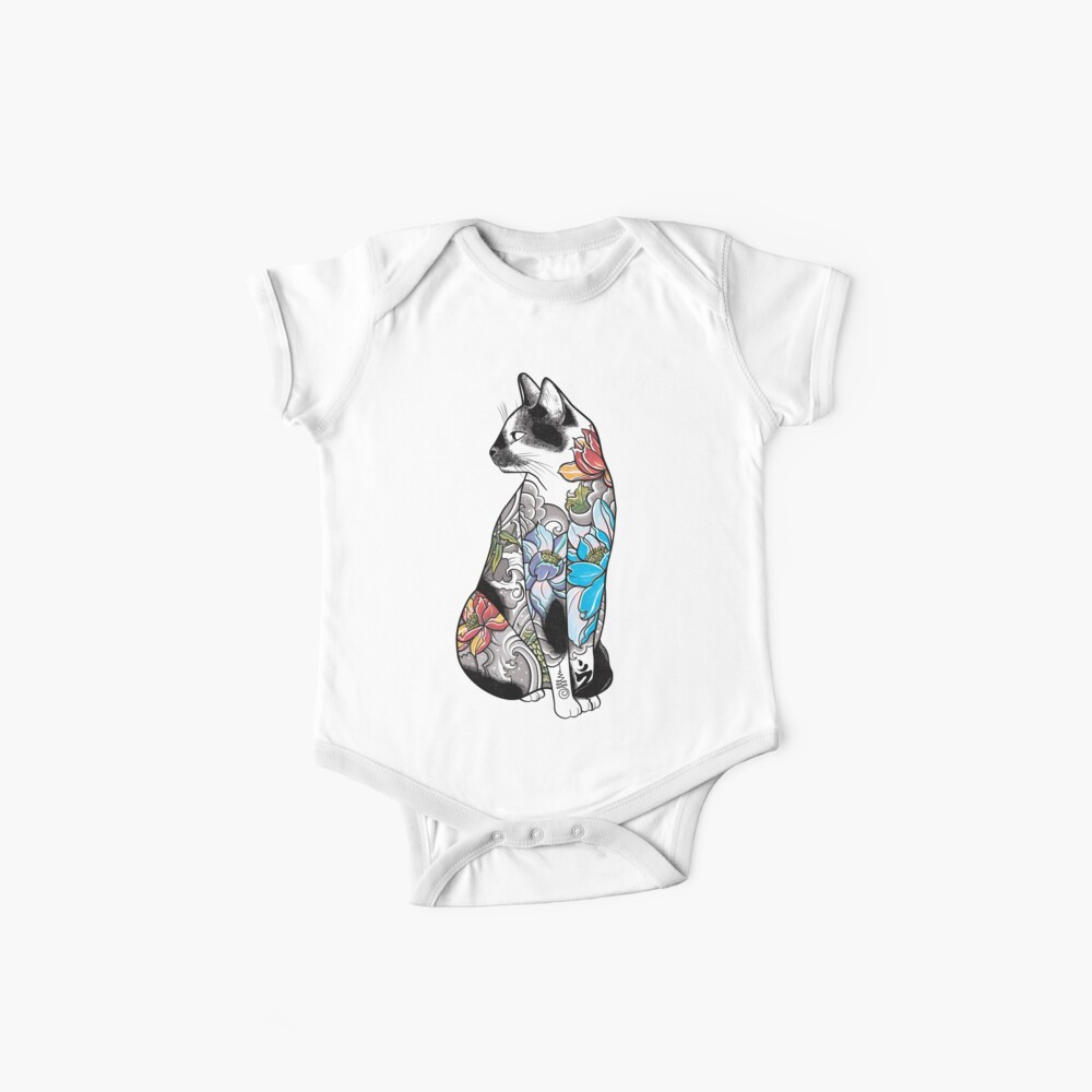 Cat in Lotus Tattoo Baby One-Piece