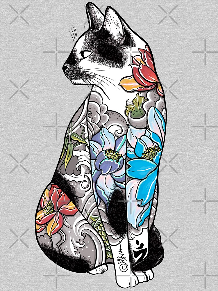 Cat in Lotus Tattoo by runcatrun