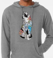 Cat in Lotus Tattoo Lightweight Hoodie