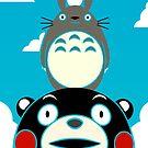 Kumamon, Totoro and small Totoro by Elisecv