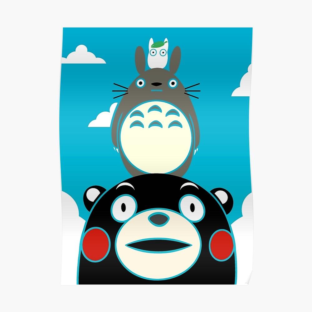 Kumamon, Totoro and small Totoro Poster