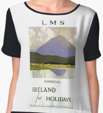 Ireland Donegal Restored Vintage Travel Poster Women's Chiffon Top
