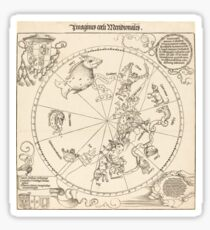 Vintage Diagram of the Southern Celestial Hemisphere (1515) Sticker