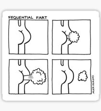 Sequential Fart comic (black and white) Sticker