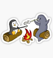 Penguin and Narwhal Campfire Sticker