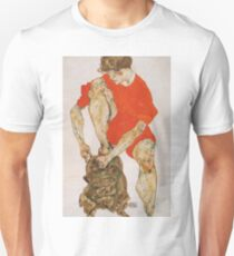 Egon Schiele - Female Model In Bright Red Jacket And Pants 1914 Unisex T-Shirt