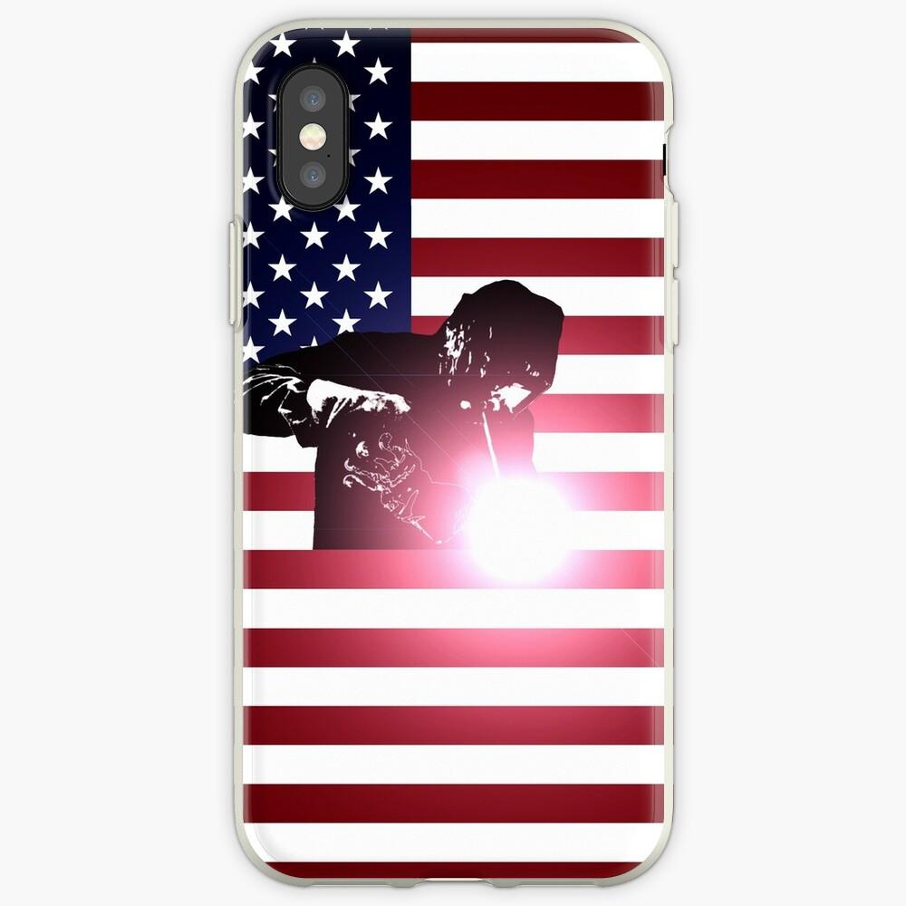 Schweißen: Schweißer & amerikanische Flagge iPhone-Hülle & Cover