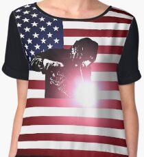 Welding: Welder & American Flag Chiffon Top