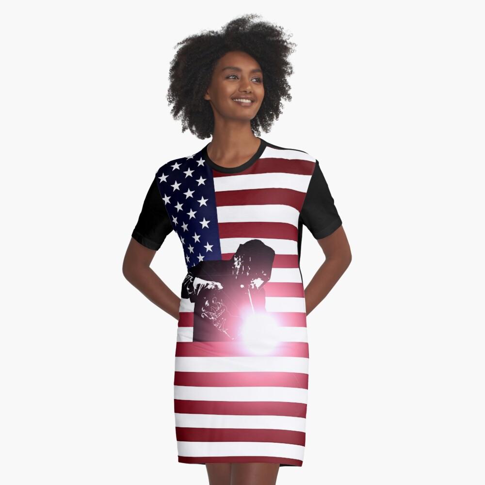 Schweißen: Schweißer & amerikanische Flagge T-Shirt Kleid