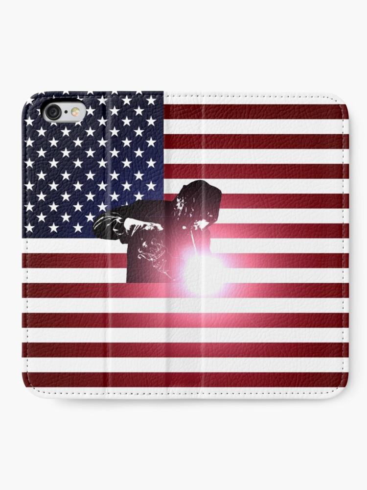 Alternative Ansicht von Schweißen: Schweißer & amerikanische Flagge iPhone Flip-Case