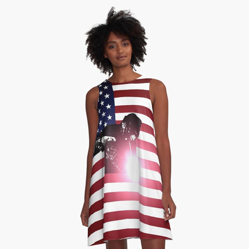 Schweißen: Schweißer & amerikanische Flagge A-Linien Kleid