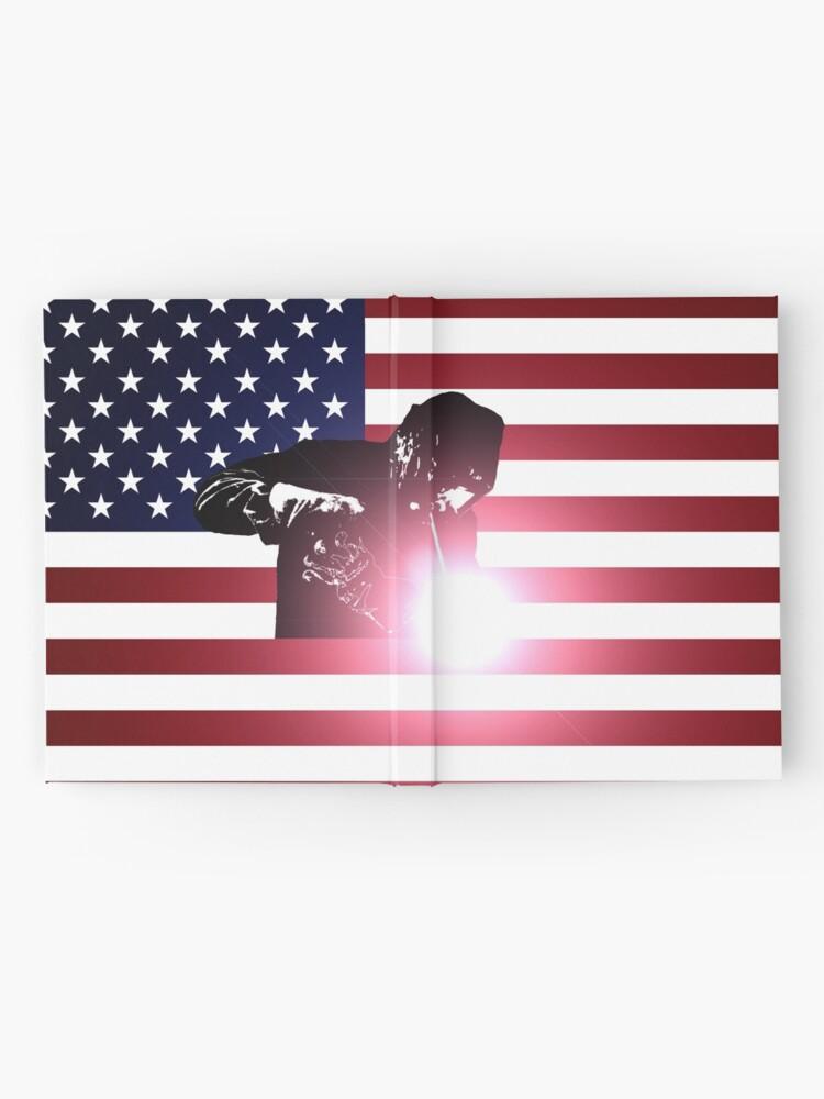 Alternative Ansicht von Schweißen: Schweißer & amerikanische Flagge Notizbuch