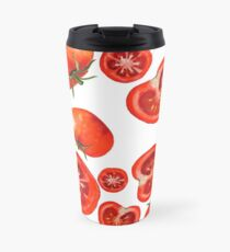 Watercolor seamless pattern with tomatoes. Travel Mug