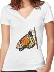 Monarch Butterfly closeup on a twig II Women's Fitted V-Neck T-Shirt