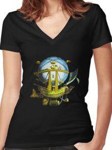 flying ship Women's Fitted V-Neck T-Shirt