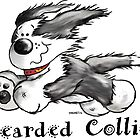 Funny Running Bearded Collie Cartoon by modartis