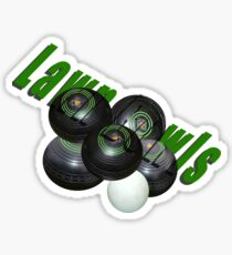 Green Lawn Bowls Logo With Bowls And Kitty, Sticker
