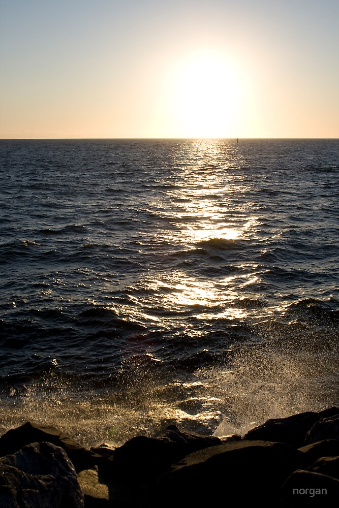 WaterSet - ocean spray at sunset Fremantle by norgan