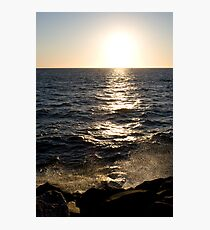 WaterSet - ocean spray at sunset Fremantle Photographic Print