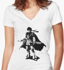 Weathered Roy Women's Fitted V-Neck T-Shirt