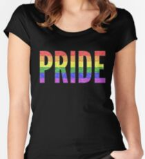 Glitter Rainbow Gay Pride Women's Fitted Scoop T-Shirt