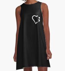 Semicolon; Heart White (Dark) A-Line Dress