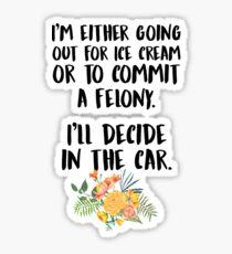 Ice Cream Or A Felony Sticker