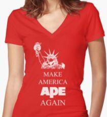 Make America Ape Again Women's Fitted V-Neck T-Shirt