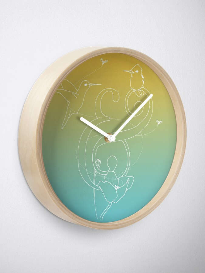 Alternate view of The Birds & The Bees - Blue and Orange Clock