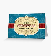 Vintage Label Christmas Card - Merry Christmas Greeting Card