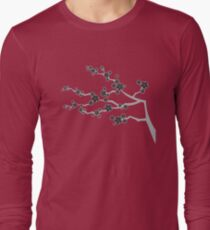 Black Oriental Cherry Blossoms | Zen Japanese Sakura Flowers Long Sleeve T-Shirt