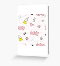 pink girl icons in pop art style Greeting Card