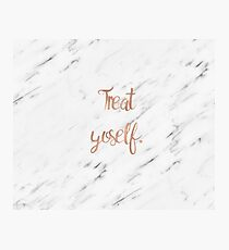 Treat yoself on white marble Photographic Print