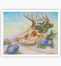 Oil Pastel Deer Skull Sticker