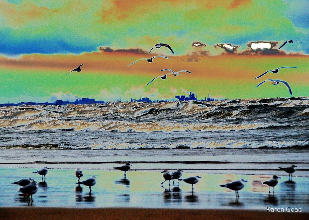 Sunset beach colors by Karen Goad