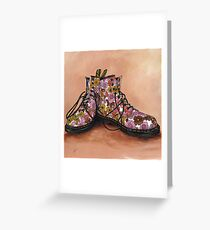 A Pair of Floral Dr Martens Greeting Card