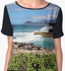 Ocean waves crashing on the shore Chiffon Top