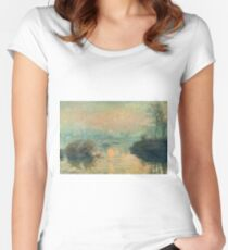 Claude Monet - Sunset On The Seine At Lavacourt Winter Effect 1880 Women's Fitted Scoop T-Shirt