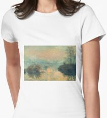 Claude Monet - Sunset On The Seine At Lavacourt Winter Effect 1880 Women's Fitted T-Shirt