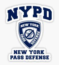 NEW YORK PASS DEFENSE all blue Sticker