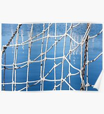 nets on the boat at the port Poster