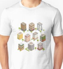 Isometric City Buildings Set. European Houses with Trees and Plants T-Shirt