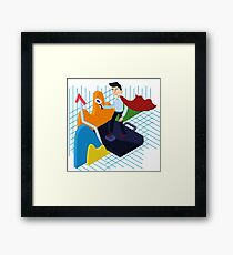 Business Analysis Isometric Concept with Super Businessman and Charts Framed Print