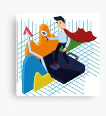 Business Analysis Isometric Concept with Super Businessman and Charts Canvas Print