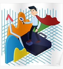 Business Analysis Isometric Concept with Super Businessman and Charts Poster