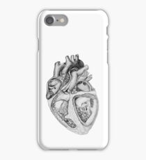 Realistic Heart Illustration with Valves - Pencil Sketch iPhone Case/Skin