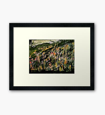 scorched peak forest....green showing through Framed Print