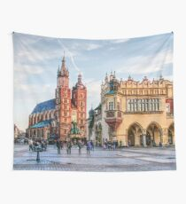 Cracow Main Square art Wall Tapestry