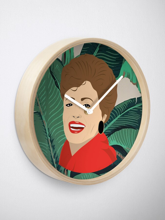 Alternate view of The Golden Girls - Blanche with banana leaf pattern Clock