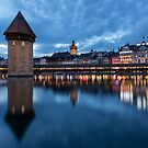 Evening view of the Water Tower in Luzern by BeardyGit